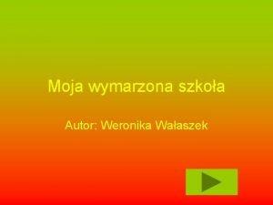 Moja wymarzona szkoa Autor Weronika Waaszek Spis treci