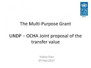 The MultiPurpose Grant UNDP OCHA Joint proposal of