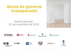 Xarxa de governs transparents Reuni plenria 20 de