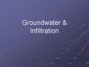 Groundwater Infiltration Water Cycle and Groundwater What is