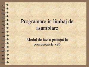 Programare in limbaj de asamblare Modul de lucru
