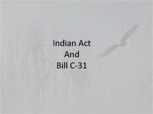 Indian Act And Bill C31 Introduction of Indian