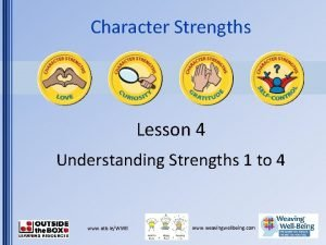 Character Strengths Lesson 4 Understanding Strengths 1 to