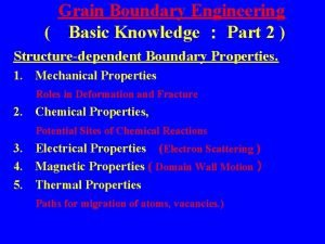 Grain Boundary Engineering Basic Knowledge Part 2 Structuredependent