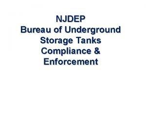 NJDEP Bureau of Underground Storage Tanks Compliance Enforcement