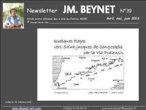 Newsletter JM BEYNET Artiste peintre rfrenc dans la