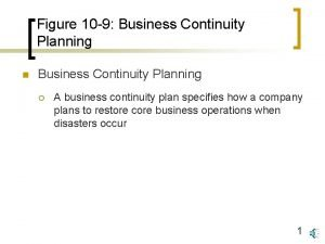Figure 10 9 Business Continuity Planning n Business