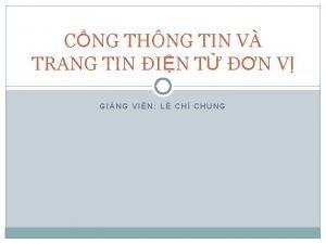 CNG THNG TIN V TRANG TIN IN T