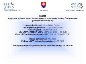 Finann mechanizmus EHP rad vldy SR Nrsky finann