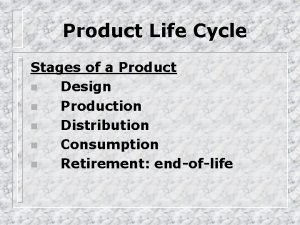 Product Life Cycle Stages of a Product n