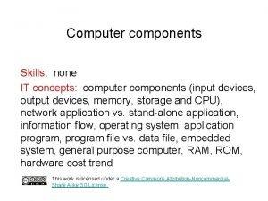 Computer components Skills none IT concepts computer components