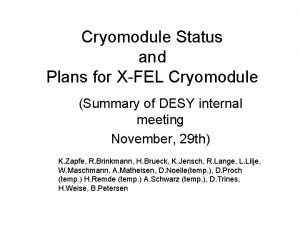 Cryomodule Status and Plans for XFEL Cryomodule Summary