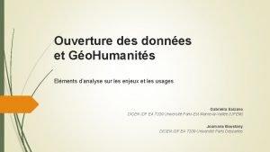 Ouverture des donnes et Go Humanits Elments danalyse