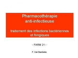 Pharmacothrapie antiinfectieuse traitement des infections bactriennes et fongiques