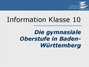 pestalozzi gymnasium Information Klasse 10 Die gymnasiale Oberstufe