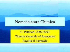 Nomenclatura Chimica C Pettinari 2002 2003 Chimica Generale