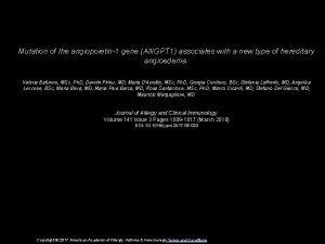 Mutation of the angiopoietin1 gene ANGPT 1 associates