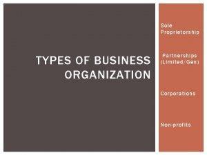 Sole Proprietorship TYPES OF BUSINESS ORGANIZATION Partnerships LimitedGen
