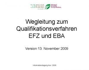 Wegleitung zum Qualifikationsverfahren EFZ und EBA Version 13