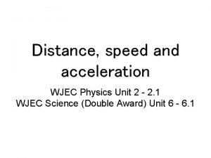 Distance speed and acceleration WJEC Physics Unit 2