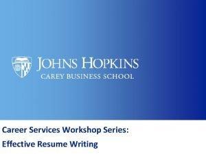 Career Services Workshop Series Effective Resume Writing Agenda