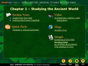 Chapter 1 Studying the Ancient World Section Notes