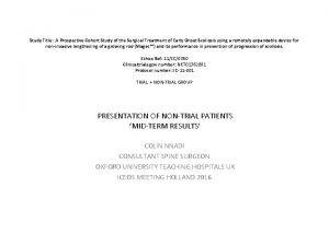 Study Title A Prospective Cohort Study of the