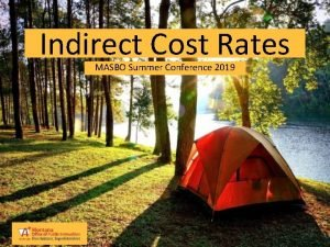 Indirect Cost Rates MASBO Summer Conference 2019 Introduction