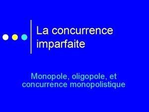 La concurrence imparfaite Monopole oligopole et concurrence monopolistique