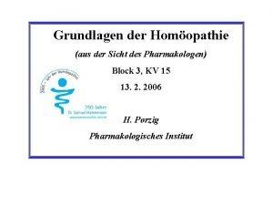 Grundlagen der Homopathie aus der Sicht des Pharmakologen