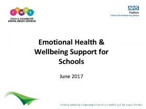 Emotional Health Wellbeing Support for Schools June 2017
