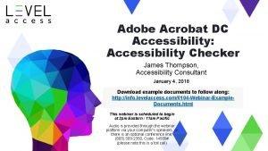 Adobe Acrobat DC Accessibility Accessibility Checker James Thompson
