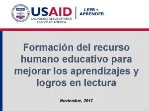Formacin del recurso humano educativo para mejorar los