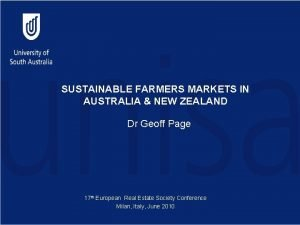 SUSTAINABLE FARMERS MARKETS IN AUSTRALIA NEW ZEALAND Dr