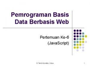 Pemrograman Basis Data Berbasis Web Pertemuan Ke6 Java