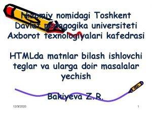 Nizomiy nomidagi Toshkent Davlat pedagogika universiteti Axborot texnologiyalari