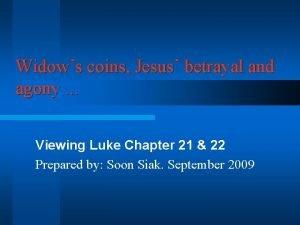 Widows coins Jesus betrayal and agony Viewing Luke