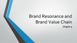 Brand Resonance and Brand Value Chain Chapter 3