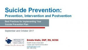 Suicide Prevention Prevention Intervention and Postvention Best Practices
