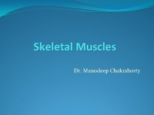 Skeletal Muscles Dr Manodeep Chakraborty Muscular system is