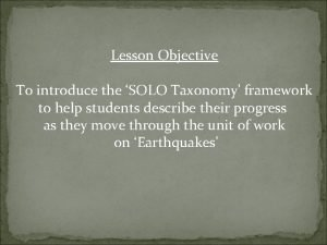 Lesson Objective To introduce the SOLO Taxonomy framework