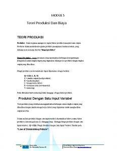MODUL 5 Teori Produksi Dan Biaya TEORI PRODUKSI