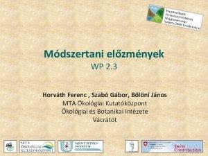 Mdszertani elzmnyek WP 2 3 Horvth Ferenc Szab