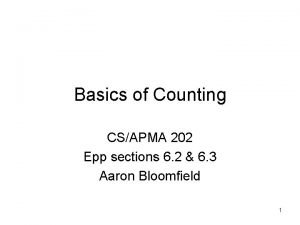Basics of Counting CSAPMA 202 Epp sections 6