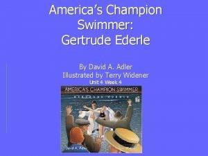 Americas Champion Swimmer Gertrude Ederle By David A