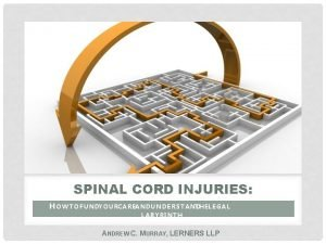 SPINAL CORD INJURIES H O W T O