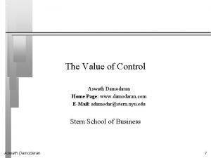 The Value of Control Aswath Damodaran Home Page