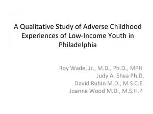 A Qualitative Study of Adverse Childhood Experiences of