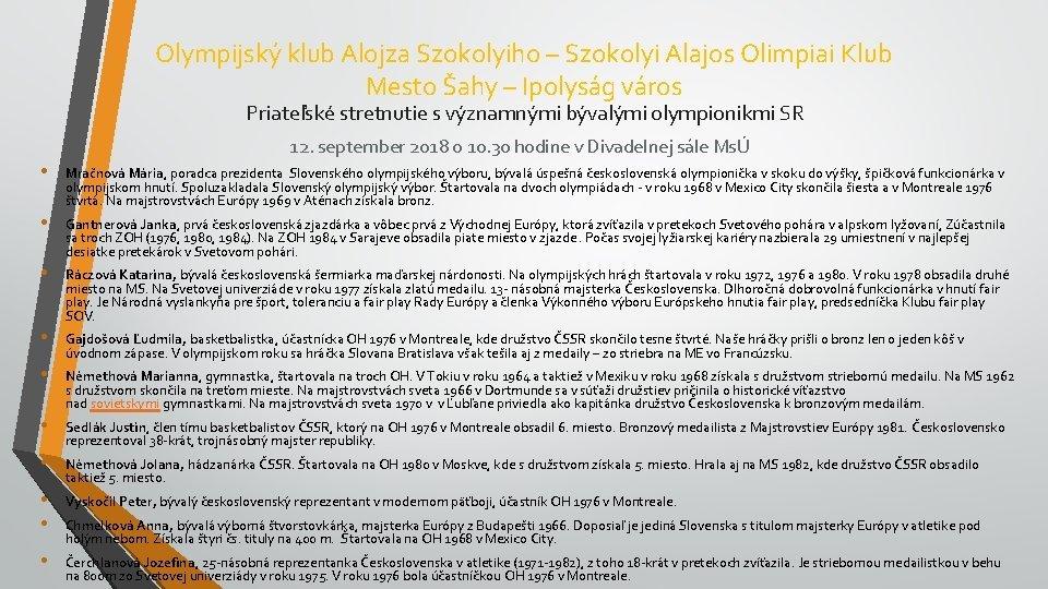 Olympijsk klub Alojza Szokolyiho Szokolyi Alajos Olimpiai Klub