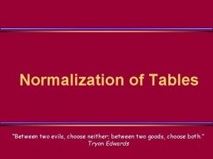 Normalization of Tables Between two evils choose neither